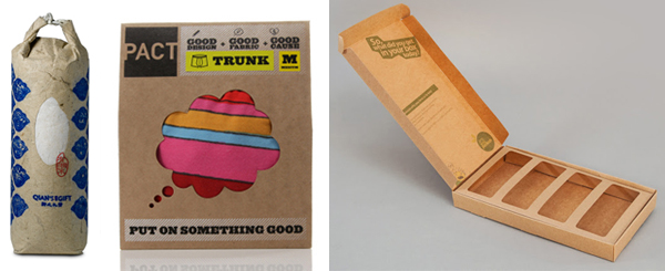 High quality, low impact packaging sustainable handcrafted feel from Pesign Design, Fuse Project and Pact, Project Packaging and Are You Peckish